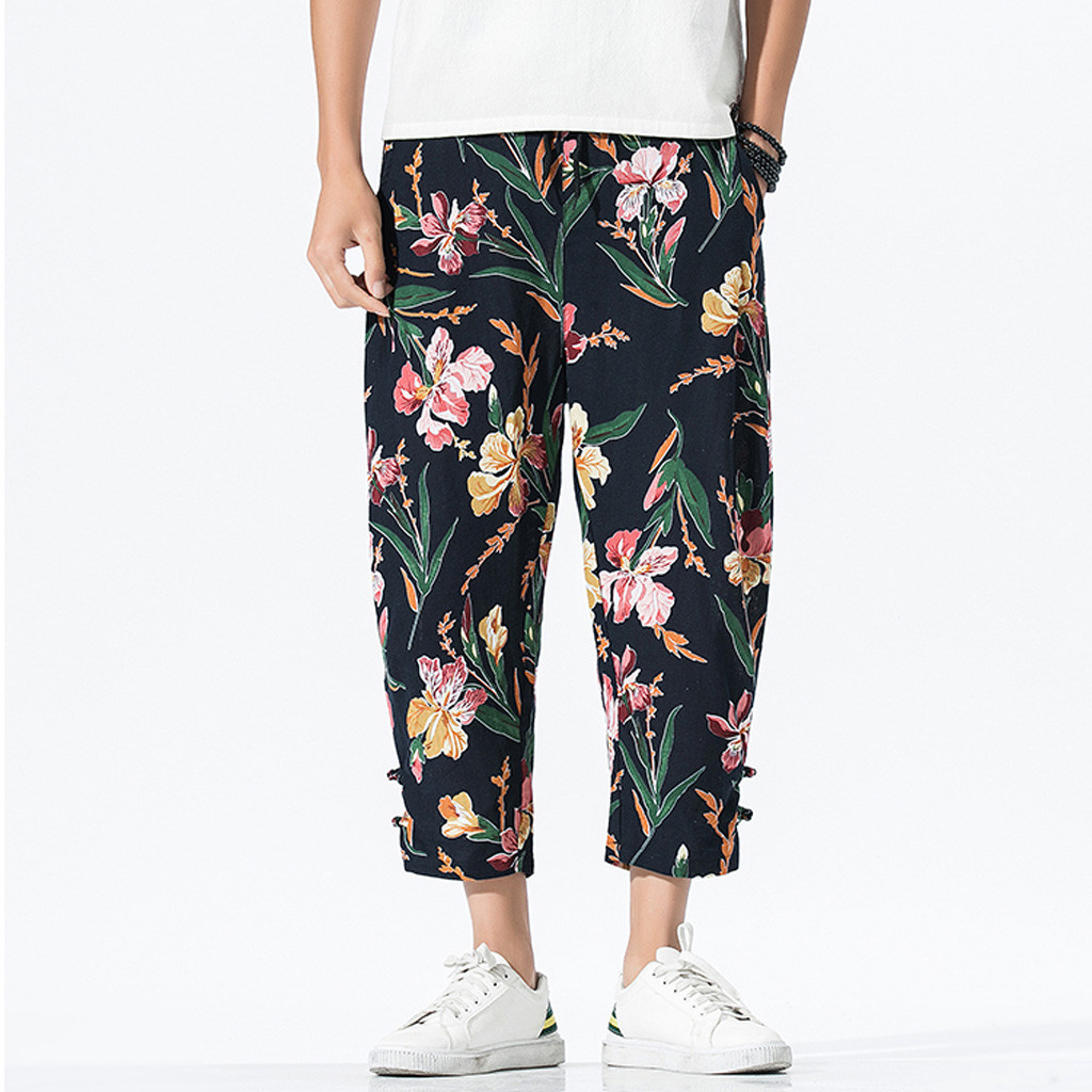 Long-Pants Linen Patchwork Printing Loose Vintage Fashion-Style Men's Cotton Casual