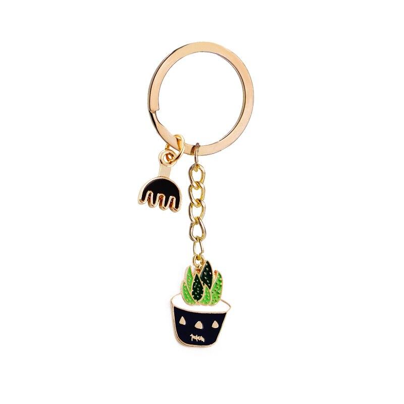 summer style Cactus Succulent Potted keychains women bag Colorful Enamel key chain plants key ring bag pendant key finder