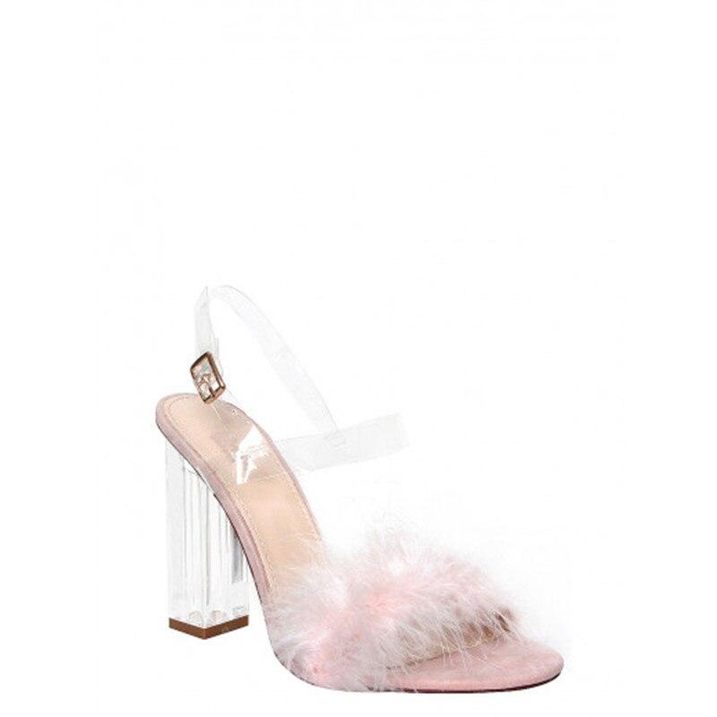 Rosa Abierta Plumas As Pic Pvc Femmes as De Diseño Transparente Grueso Sandalias Alto Pasarela Pic Chaussures Boda Peludo Tacón Punta pp4nFWr
