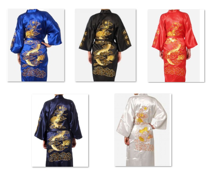 Free shipping Navy Blue Tang suit Chinese Dragon Men's women couples Pajama home wear Silk Satin Robe Embroider Kimono Bath Gown
