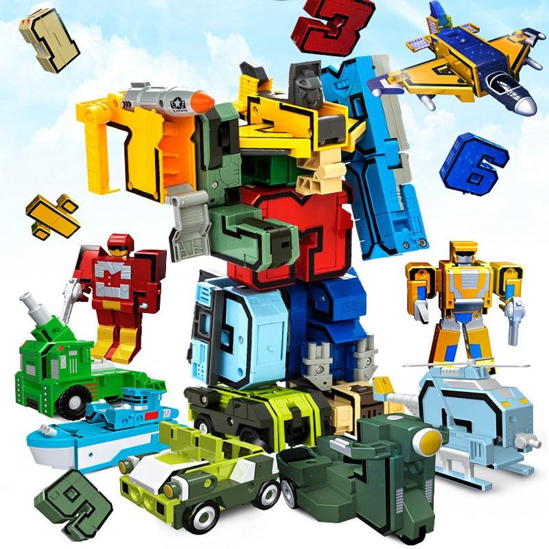 Transformation Robot Small 10-Numbers Educational-Toys Creative 10pcs Assembling Symbols