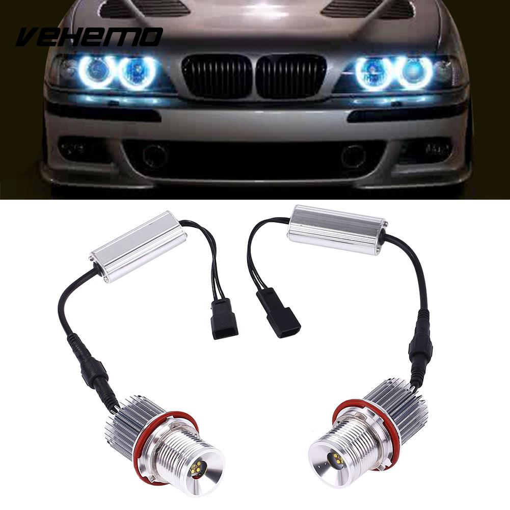 Vehemo 1 Pair Car LED Angel Eye Light Bulbs For BMW E39 Styling Accessories 40W White vehemo 24v trucks vehicle 48 led bulbs cab working white lighting light 6000k bright