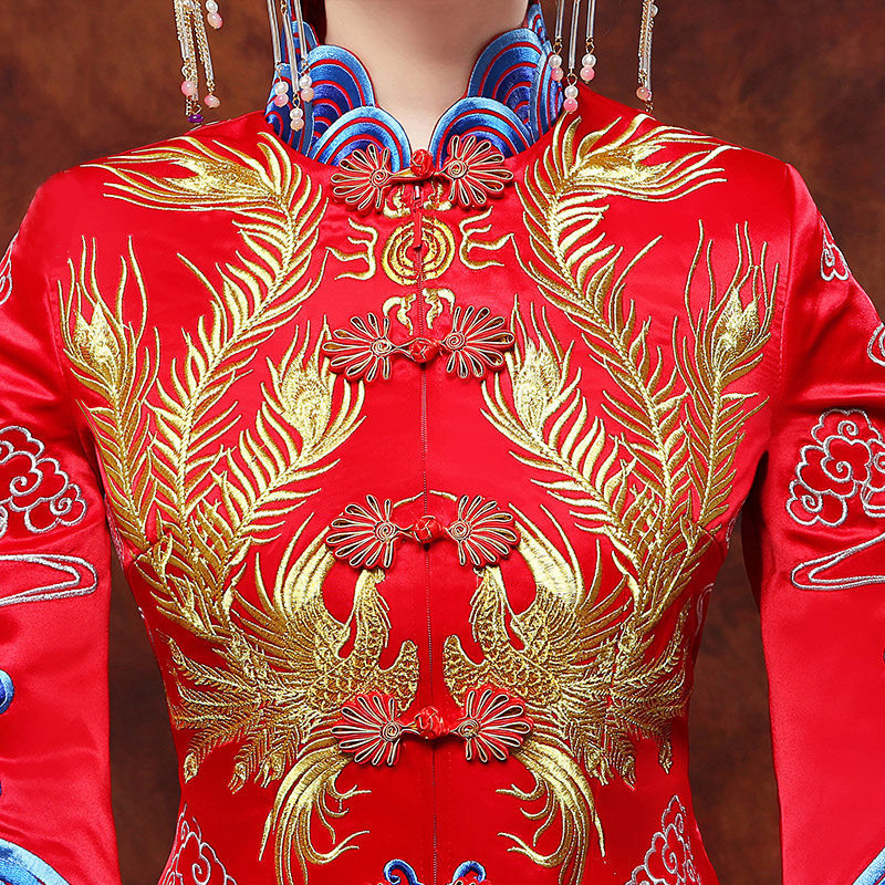 Vintage Blue Cheongsam Modern Chinese Traditional Wedding Dress Women Vestido Oriental Collars Elegent Long Qi Pao Size S-XXL