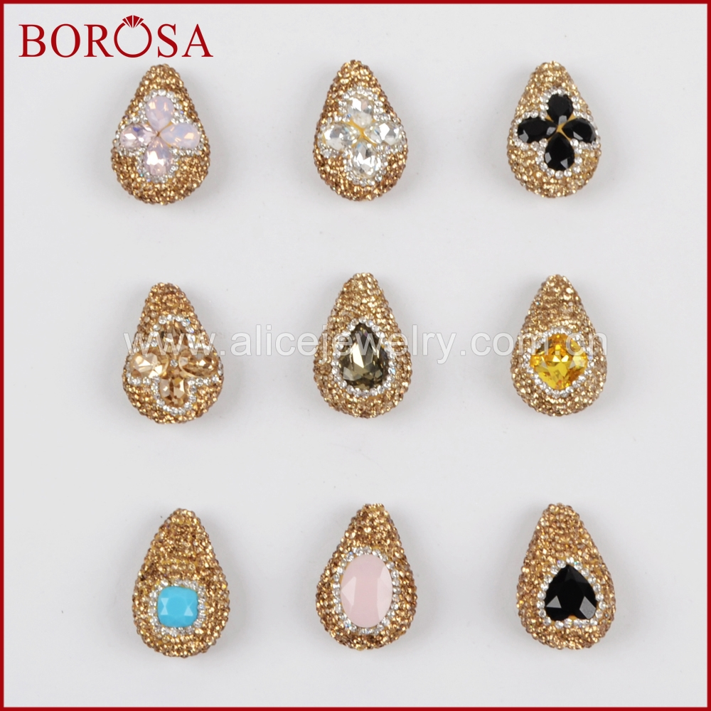 BOROSA Stone Bead Druzy Charm DIY Bracelet Gold Zircon Rhinestone Pave Drop Faceted Crystal Beads for Jewelry Making JAB683