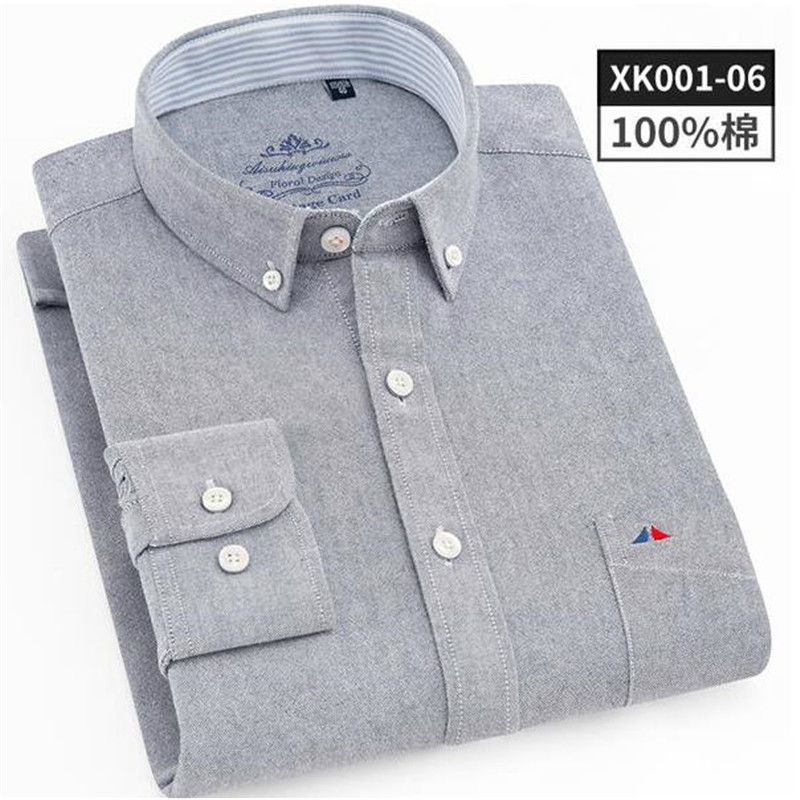 Super High Quality Luxury Shirt Men Oxford Fabric 100% Cotton Casual Long Sleeve Mens White Gray Dress Vocational Brand Shirt L
