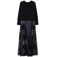 SRUILEE Slim Elegant Side Zippers Mesh Dress Geometric Spring Autumn Hole Robe Women Dress Ruffles Pullovers Knit Vestido Runway