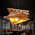 Simple Modern Wood Art Droplight Loft Style Edison Pendant Light Fixtures For Dining Room Hanging Lamp Indoor Lighting