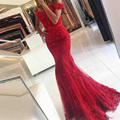 2017 New Red Lace Mermaid Prom Dresses veatidos off Shoulder Beaded Appliques Tulle  Long robe longue femme soiree mariage