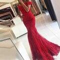 2017 Novo Laço Vermelho Sereia Vestidos de Baile veatidos vestido fora Do Ombro Frisado Apliques Tulle Longo sarau mariage robe longue femme
