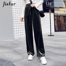 Jielur New Autumn Drawstring Women Pants Korean Winter Solid Color Baggy Wide Leg Pants Harajuku Velvet Trousers XS-XXL Dropship