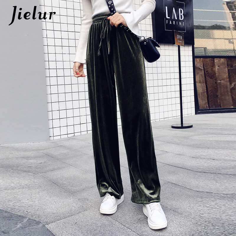 Jielur New Autumn Drawstring Women   Pants   Korean Winter Solid Color Baggy   Wide     Leg     Pants   Harajuku Velvet Trousers XS-XXL Dropship