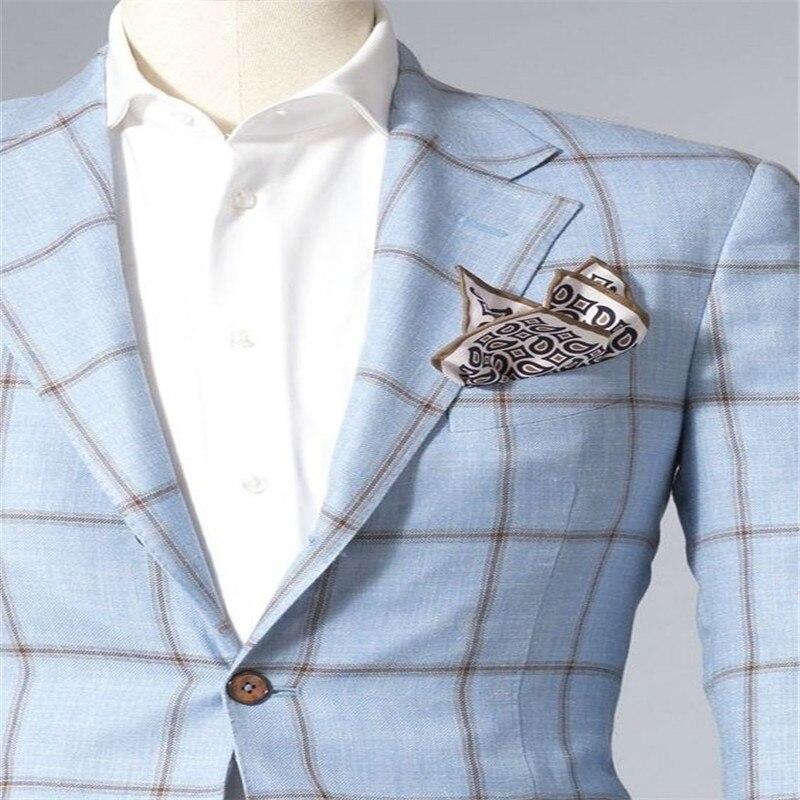 블루 슬림 맞는 남자 신랑 정장 격자 무늬 2 버튼 남자 턱시도 결혼식 노치 옷깃 패션 남성 블레 이저 재킷 + 바지