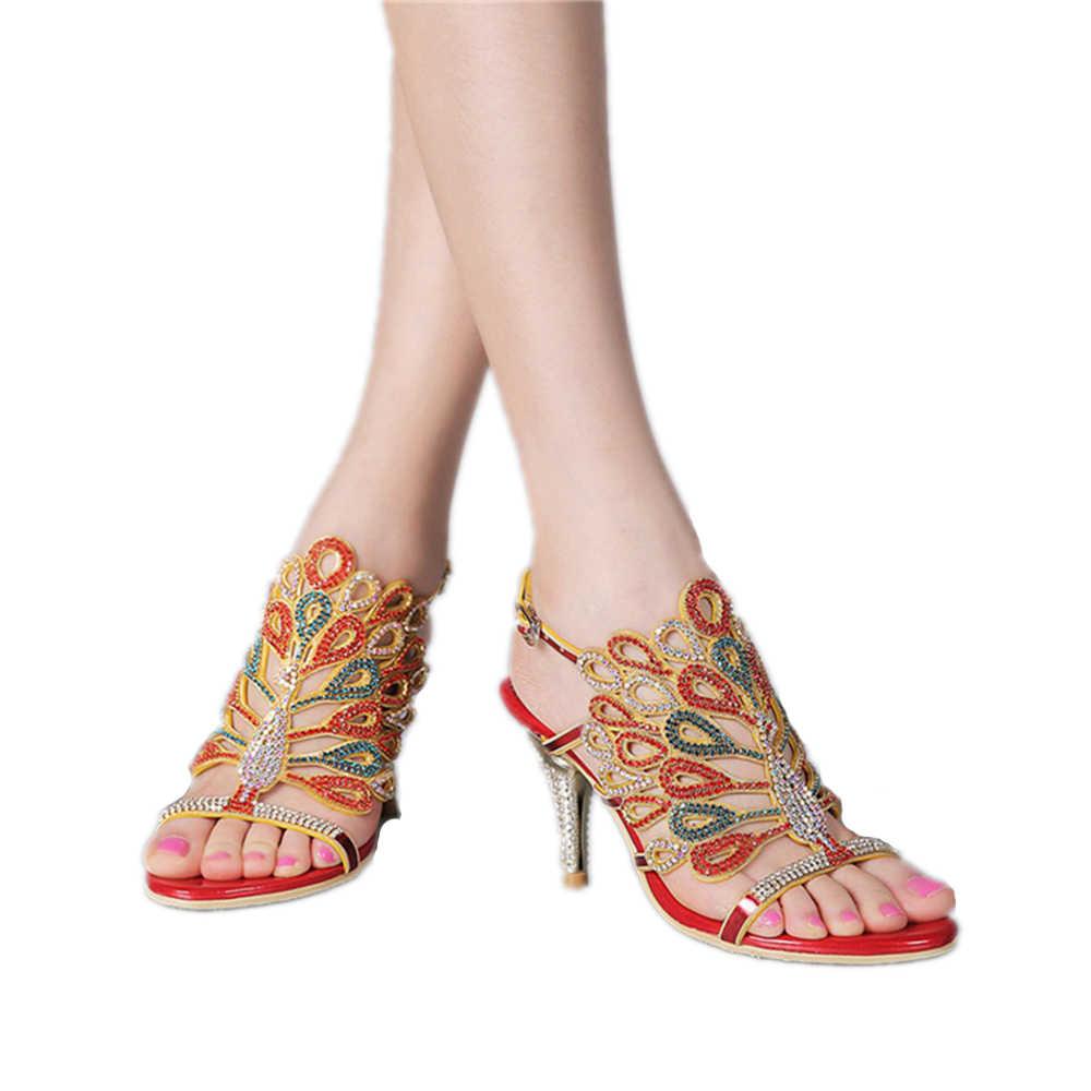 Nowa moda i Sexy ślub i strona suknia wieczorowa rhinestone wysokiej jakości sandały buty duży rozmiar, sandały damskie buty