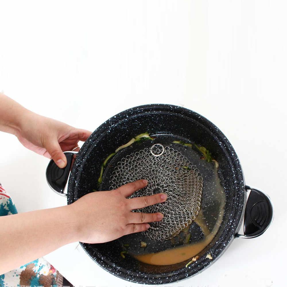 10Cm Ronde 316 Gietijzeren Cleaner Keuken Roest Pot Pannen Cleaning Scrubber Staal Roest Remover Schraper Borstel Kit Metalen schoonmaken