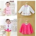 A primavera eo Outono novos casacos jaqueta de algodão bordado camisa da flor do bebê meninas cardigan crianças bebê infantil pouco jaqueta outwear