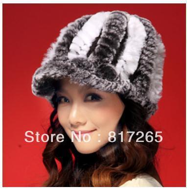 Бесплатная доставка Кролик волосы шляпа леди зима расстроен теплую шапку модной женщины хет мех R50 Натуральный мех шляпа