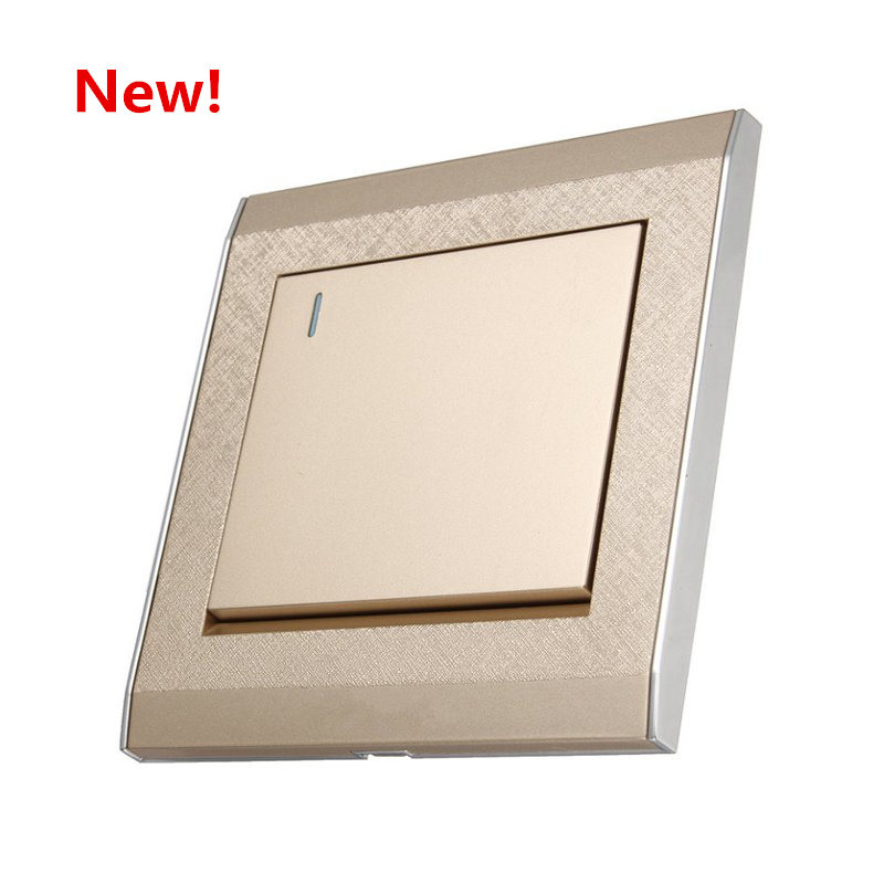 New 86 Concealed Wall Switch, 1 Gang 1 Way Touch Control Switch, 16A /250V Champagne Push Button Switch 86x86mm home installed wall switch socket 86 type concealed black steel frame to open a double control switch pc 220v 10a