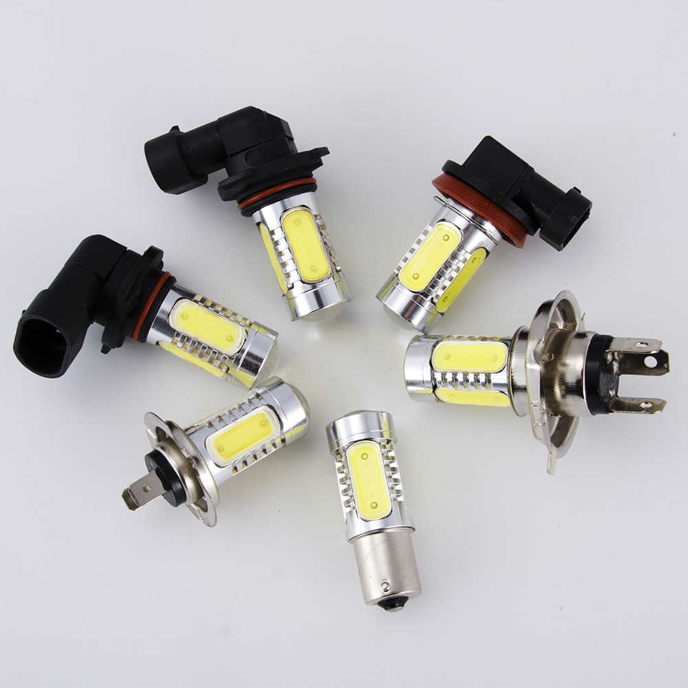 flytop 7.5W High Power LED Bulb H1 H3 H4 H7 H11 9006 1156 T10 Car Fog Light Super Bright Auto Lamp COB 12V White