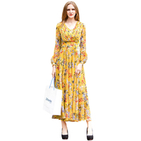 Spring Summer Chiffon Printed Floral Full Length Dress Yellow V Neck Party Night Long Dress Elegant