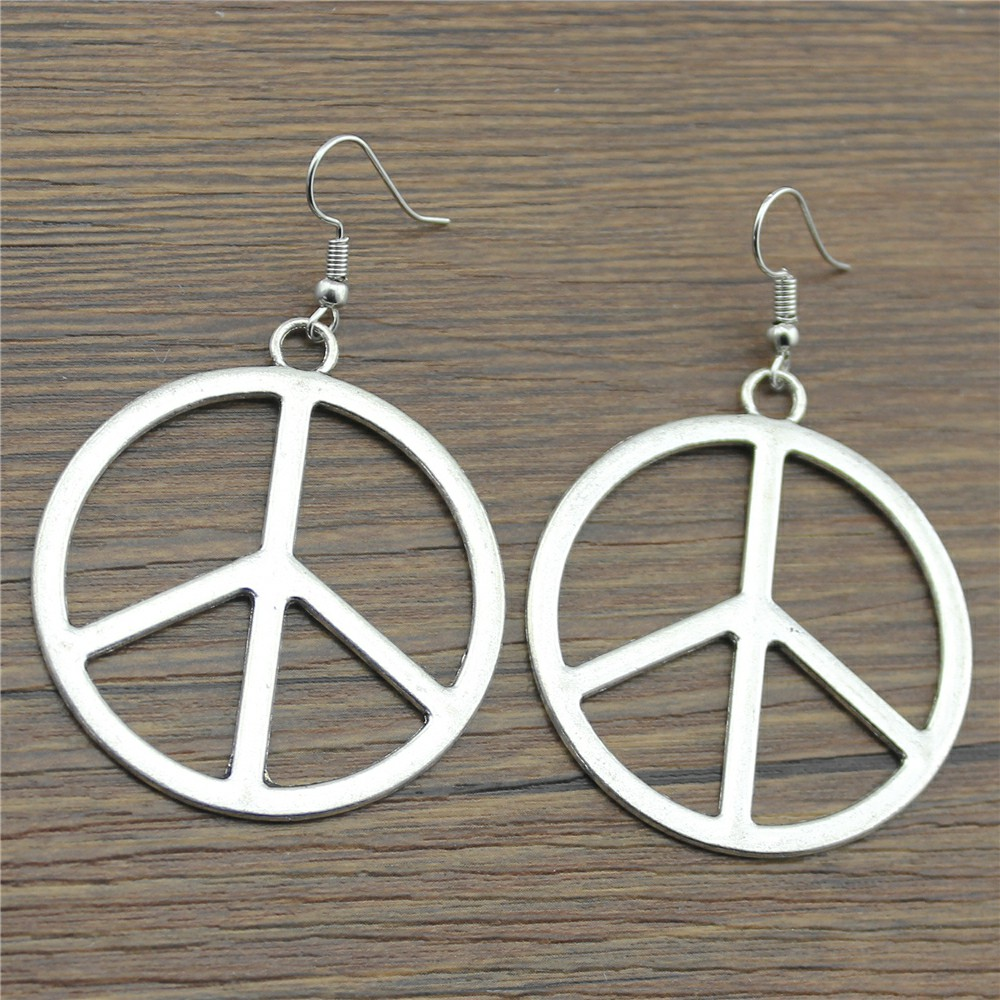 WYSIWYG 2 Colors 42*42mm Fashion Simple Peace Sign Charm Dangle Earring, Charming Drop Earring