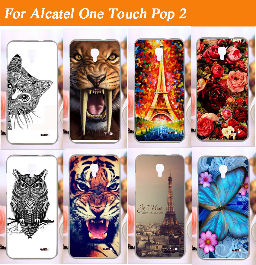 New Fashion Painting Kunststoff-Handyhülle für Alcatel One Touch Pop 2 M5 5042X 5042D 5042A 5042W 5042 Hard Case Rückseite