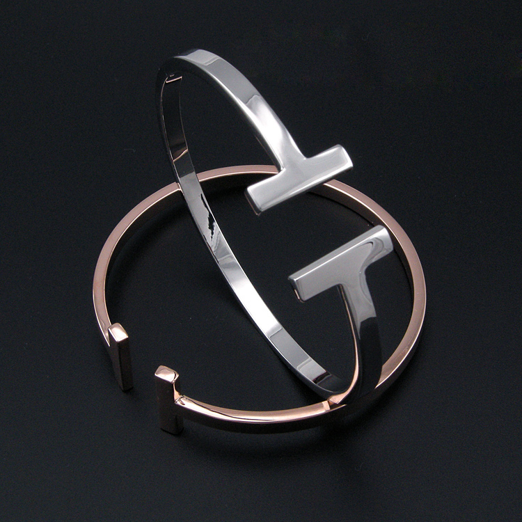 15 New design smooth cuff T bangle gold opening bracelet for men and women fashion party jewelry 1