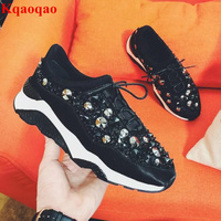 Hot Women Sneakers Round Toe Lace Up Casual Shoes Crystal Embellished Low Top Zapatos Mujer Fashion Designer Shoes Woman Flats