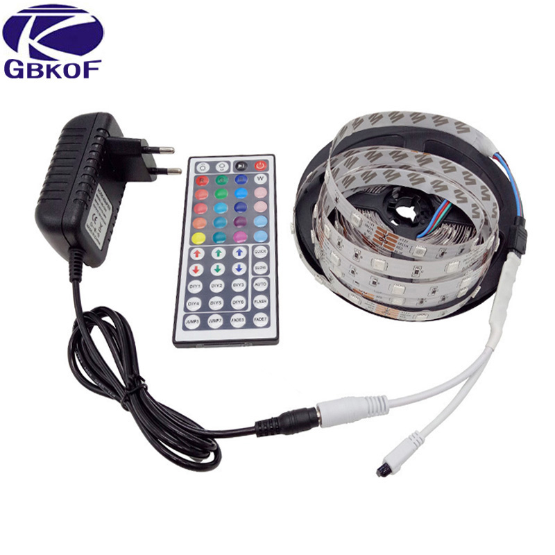 DC12V IP65 Waterproof Flexible Light LED Strip 5050 RGB color 60LED/m 5m led tape ribbon with remote control and power adapter ...