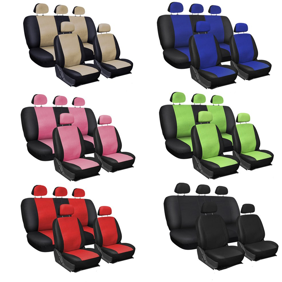 9 PCS Oxgord Faux Pu Leather Protects Original Upholstery Car Seat Covers Steering Wheel Belt Pad Head Rest