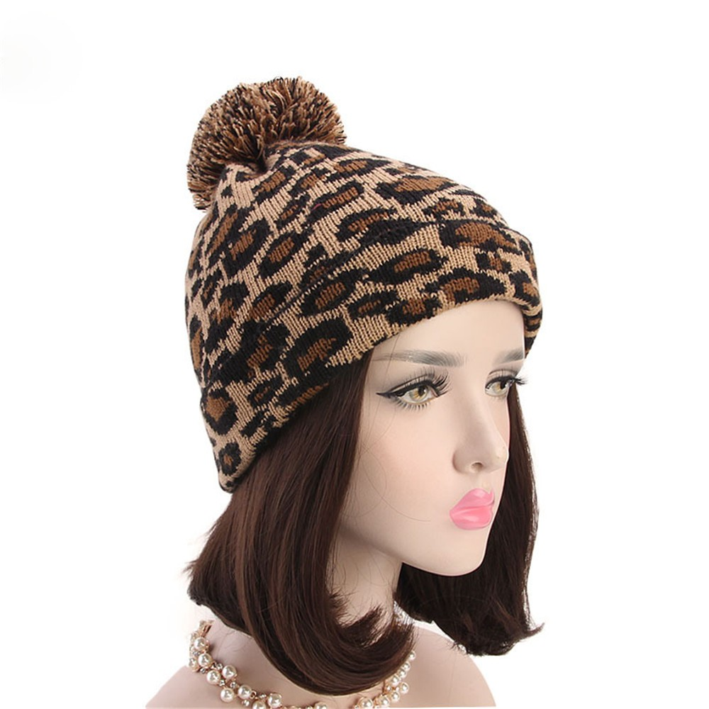 7f90b5823faa0 Detail Feedback Questions about 2018 Fashion Women Hats Leopard Faux Fur Cap  Beanie with Ball Winter Warm Crochet Knitted Hat for Ladies on  Aliexpress.com ...