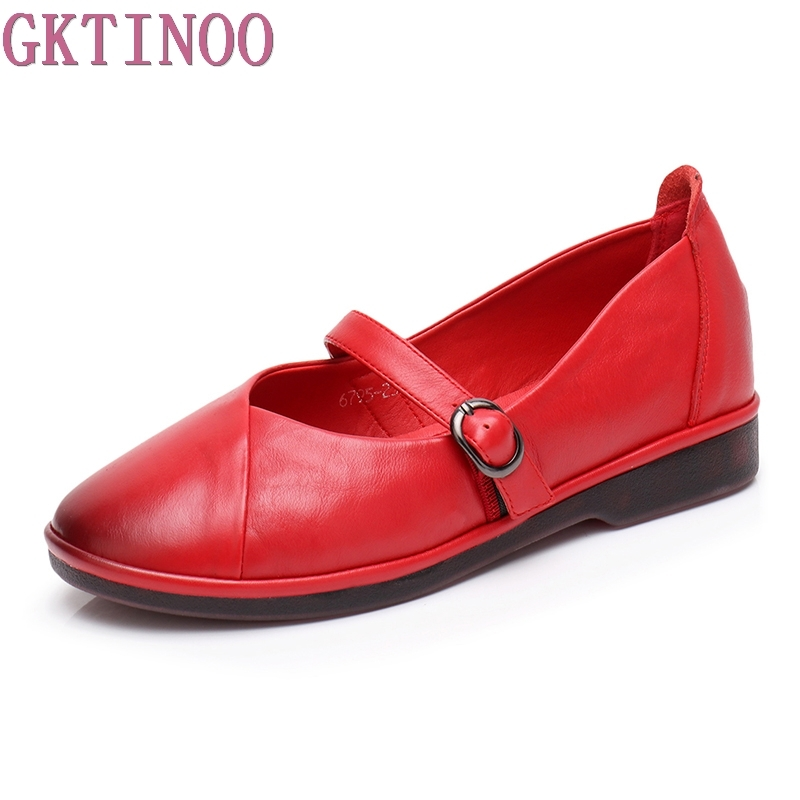 GKTINOO Fashion Shoes Woman Genuine Leather Loafers Women Buckle Strap Casual shoes Handmade Soft Comfortable Shoes Women Flats hee grand solid patent leather women oxfords british new fashion platform flats casual buckle strap ladies shoes woman xwd5833