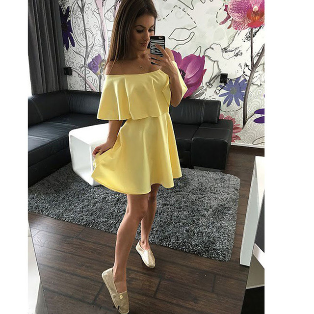 43ebc59357fb 2016 Summer Style Beach Black Yellow White Red Off Shoulder Sexy Ruffles  Slash Neck Women Dress
