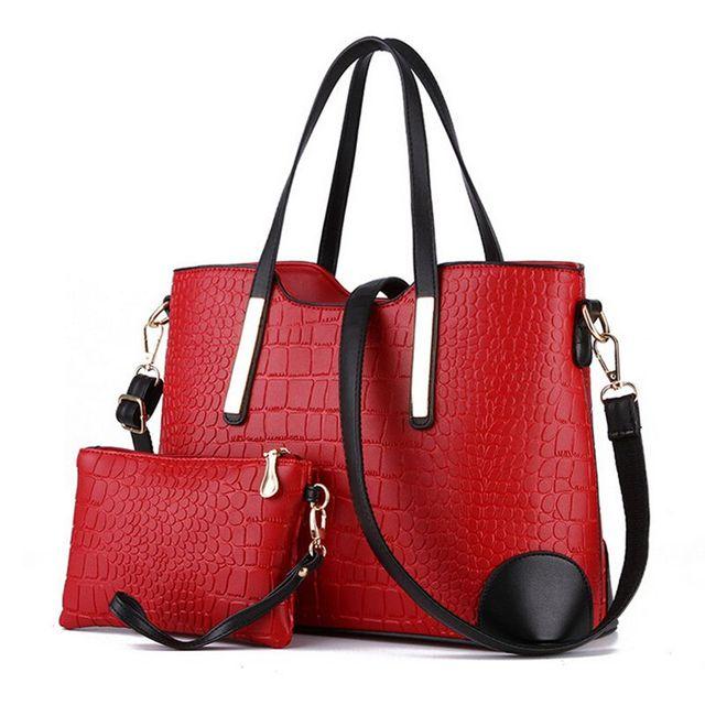 Women handbag leather hand bag crocodile shoulder messenger bags Women tote Bag + purse - Set of 2 4