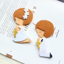 AVEBIEN Lovely Prayer Boy & Girl Nonwovens Fabric DIY Label Self-adhesive Stickers For Package Baby Shower Decoration 50pcs