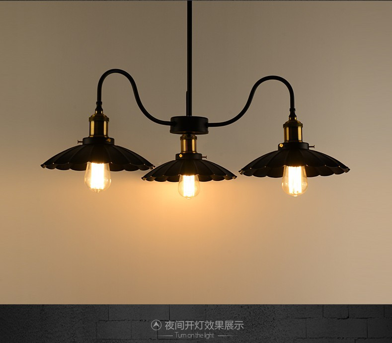 Loft Style American Country Personality Creative Iron Three Heads Black Living Room Lamp Pendant Ligh Office Lamp Free Shipping retro style living room lamp creative american country floor light solid wood floor lamp three foot