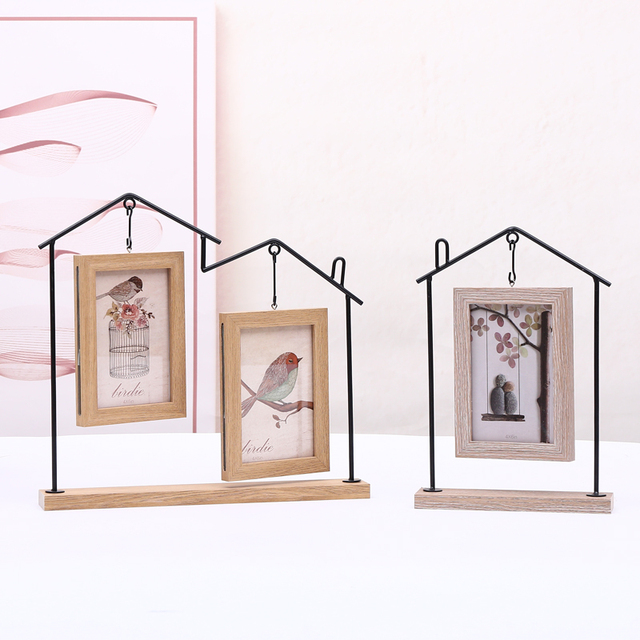 Home Decor House Shape Wood Wooden Picture Photo Frames Hanging ...