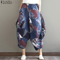 ZANZEA Women Cotton Lantern Pants Floral Print Elastic Waist Casual Loose Capris Autumn Pantalon Linen Trousers
