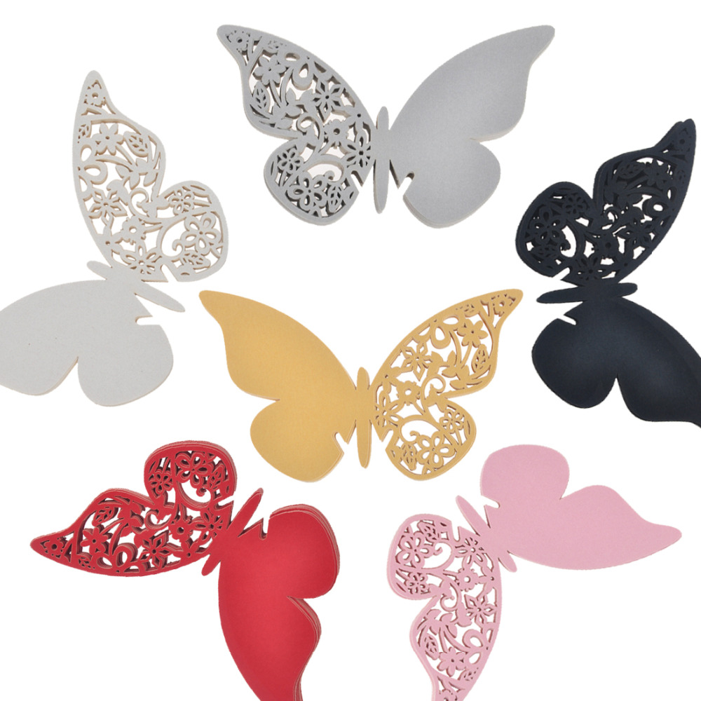 10pcs Butterfly Place Escort Wine Glass <font><b>Cup</b></font> Paper <font><b>Card</b></font> for Wedding Party Home Decorations White <font><b>Silver</b></font> Gold Red Black Name <font><b>Cards</b></font>