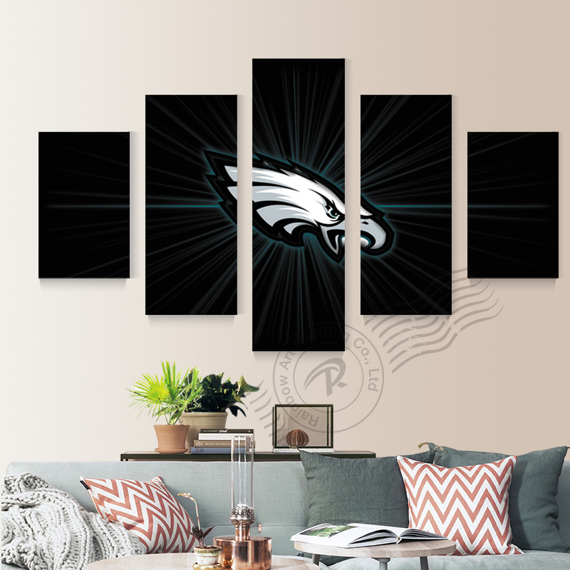 5 Panel Eagle Sports Team Logo Oil Canvas Painting Home Decor Modular Wall Picture For Living Room Canvas Prints Unframd BR0131