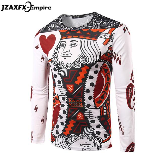 Men 3D Fashion Poker Heart K T-shirt Long Sleeve