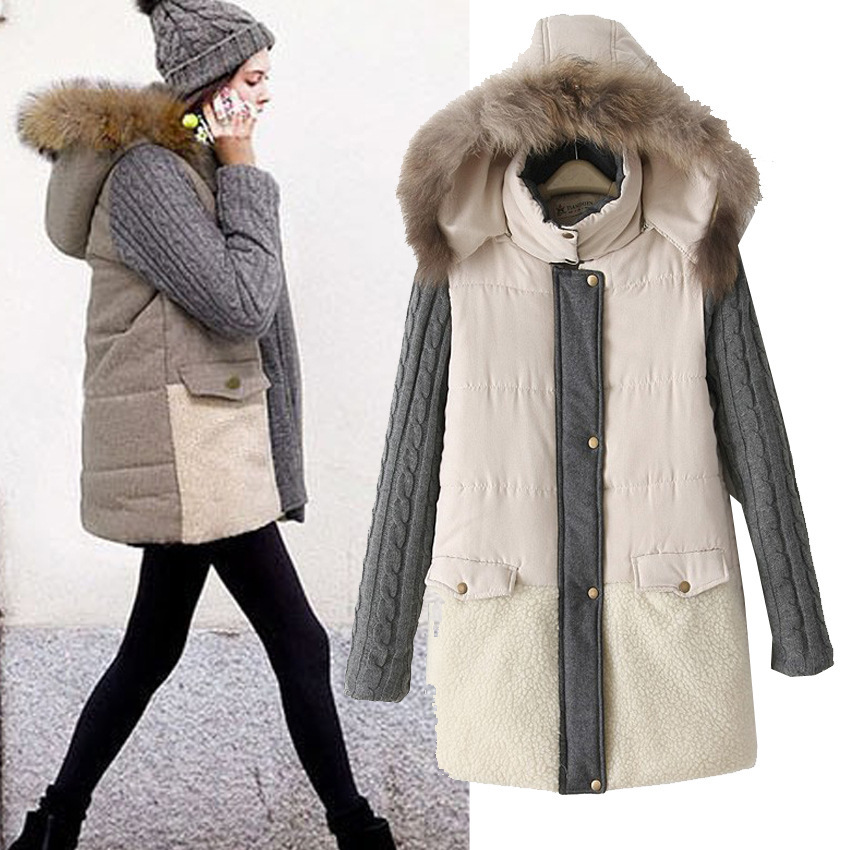 Europe and the United States the new female new splicing cashmere long-sleeved warm warm cotton-padded clothes in winter europe and the united states long sleeve hooded keep out the cold winter to keep warm and comfortable cotton coat