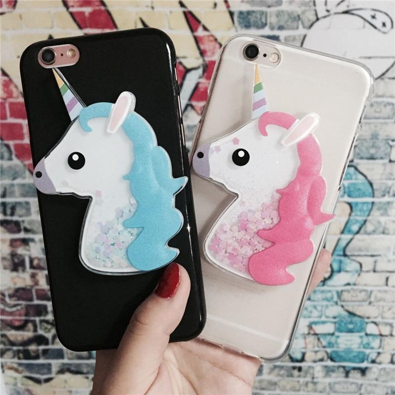 №3D Unicorn Quicksand Liquid Soft Silicone Case for Samsung ...