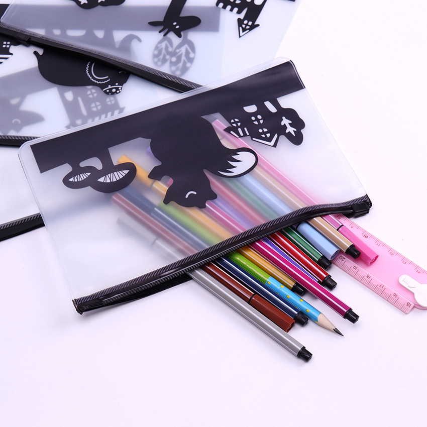 Cartoon Animals Transparent PVC Pencil Case School Supplies Kids Stationery Gift Cute Scrub Pencil Box Pencilcase Pencil Bag