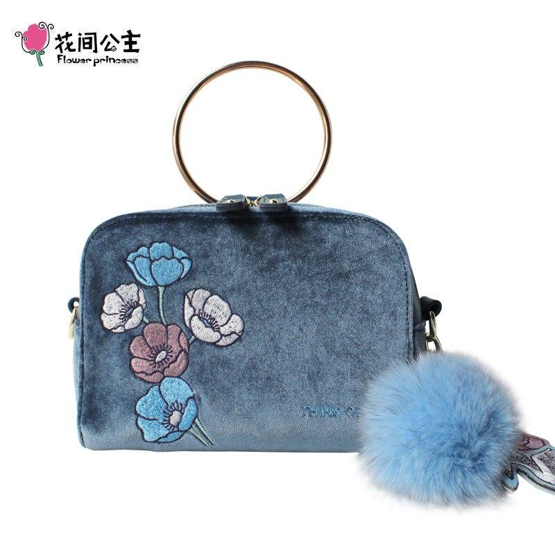 Femmes Messager Poils Velours Designer Princesse Femelle De Boule Sacs Luxe Main Bleu Sac Fleur Épaule Ornements À xzpwC8qYY
