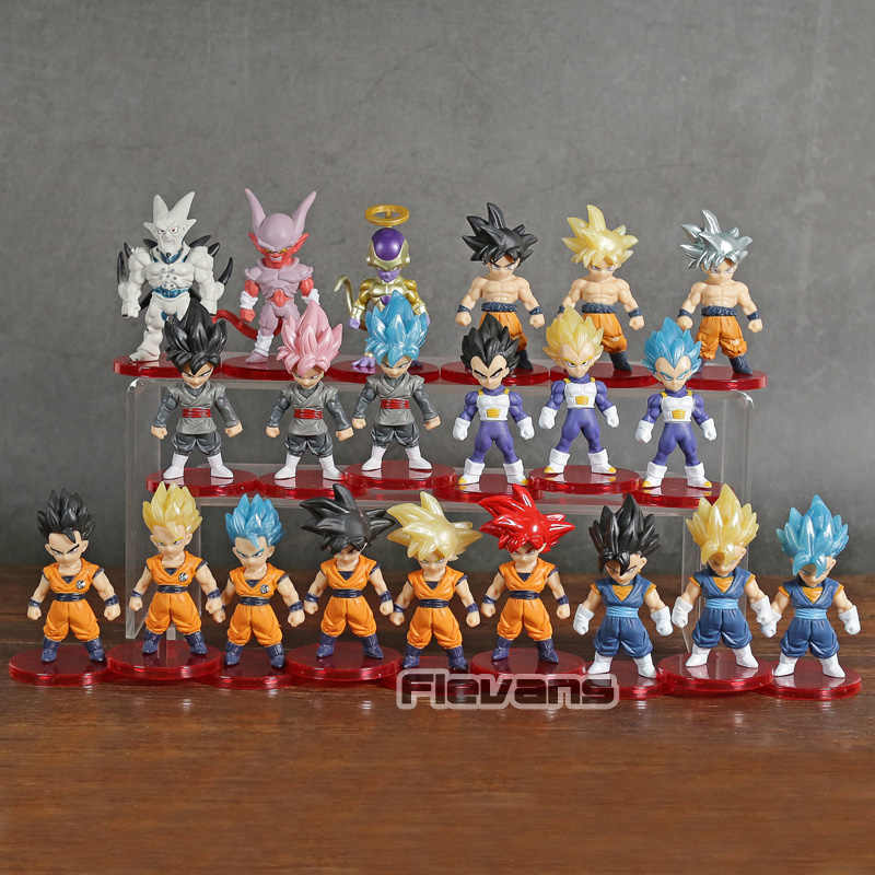 Dragon Ball Z Super Saiyan Goku Gohan Vegeta Vegetto DBZ Freeza Janenba Collectible Figuras PVC Brinquedos Estatueta 21 pçs/set