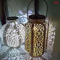 Retro Garten Solar Lampe Ausgehöhlt ahornblatt Schatten Laterne Hängende Hohle Lampe Beleuchtung Im Freien Wasserdichte Landschaft Lampe