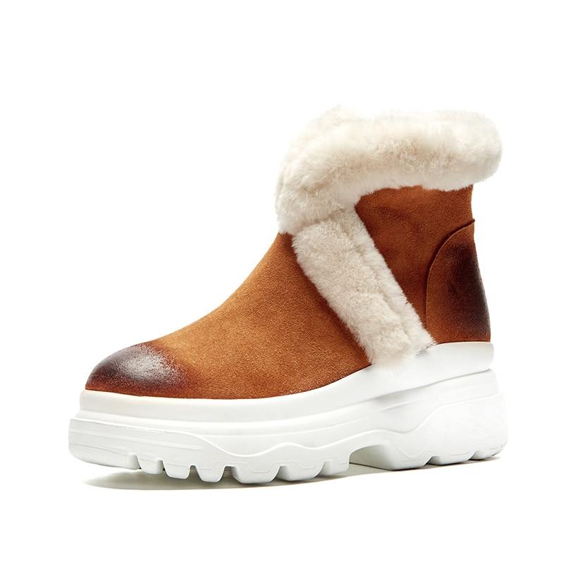 Cuir Mode En Suédé D'hiver Bottes Zip Neige forme brown Noir Cheville Chaud Bout Garder Asumer 2019 Femmes Rond Plate A8zgqfwx5