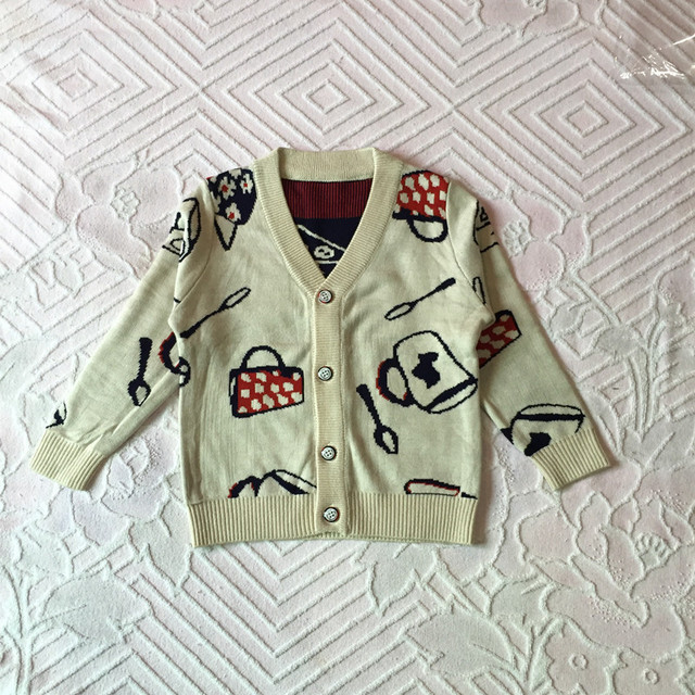 children sweater boys girls coat cartoon jacquard V-neck kids cardigan single breasted long-sleeve baby child knitted clothes