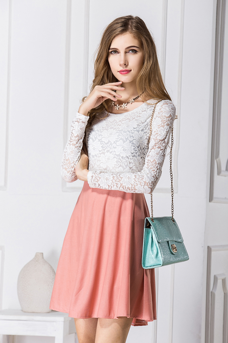 modern design lace one piece dress for women embroidery hollow out
