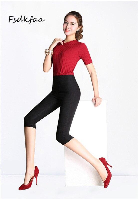 Fsdkfaa Plus Size 6XLCropped Cotton   Leggings   3/4 Pants Knee Length   Legging   Thermal Breeches Womens Trousers Casual Capris Pencil